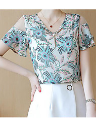 cheap -Women's Daily Casual Blouse,Print Round Neck Short Sleeves Polyester