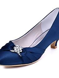 cheap -Women's Shoes Stretch Satin Spring Fall Basic Pump Wedding Shoes Kitten Heel Round Toe Crystal for Dress Party & Evening Black Dark Blue