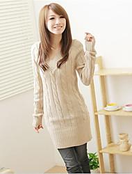 Standard Pullover Da donna-Per uscire Casual Semplice Tinta unita A V Manica lunga Cotone Acrilico Autunno Inverno Spesso Media elasticità