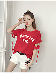 Women's Daily Casual Casual Summer T-shirt Pant Suits,Letter Round Neck Short Sleeve Inelastic