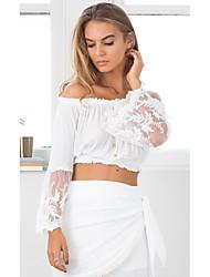 T-shirt Da donna Per uscire Romantico Estate,Tinta unita Senza spalline Cotone Manica lunga