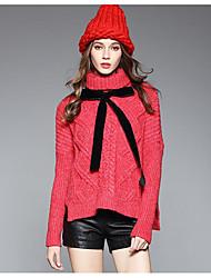 Longue Pullover Femme Décontracté / Quotidien Couleur Pleine Col Roulé Manches Longues Coton Automne Hiver Moyen Non Elastique