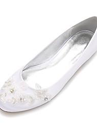 Недорогие -Для женщин Свадебная обувь Удобная обувь Балетки Сатин Весна Лето Свадьба Для праздника Для вечеринки / ужинаСтразы Аппликация Бусины