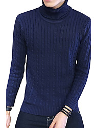 Men's Plus Size Korean Slim Turtleneck Knitted Sweaters Cotton Spandex