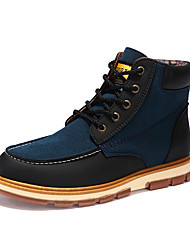 Men's Boots Combat Boots Fall Winter PU Casual Outdoor Flat Heel Blue Brown Black Flat