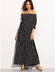 cheap -Women's Sheath Dress - Polka Dot High Rise Maxi Boat Neck