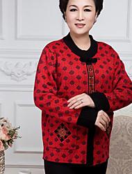 Standard Cashmere Da donna-Casual Con stampe Rotonda Manica lunga Lana Autunno Inverno Sottile Anelastico