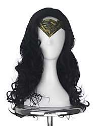 cheap -Wonder Womens Diana Prince Adult Long Wavy Black Color Movie Cosplay Costume Party Full Wig