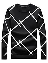 billige -Herre Plusstørrelser Langærmet Rund hals Sweatshirt - Ensfarvet