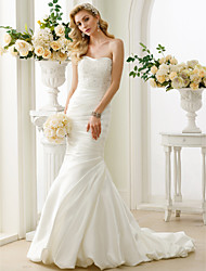 cheap -Mermaid / Trumpet Strapless Court Train Satin Custom Wedding Dresses with Beading Side-Draped by LAN TING BRIDE®