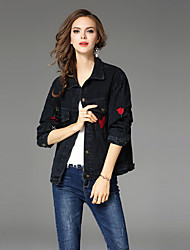 Maxlindy Women's Holiday Going out Casual/Daily Vintage Cute Street chic Fall Winter Denim JacketPrint Letter Shirt Collar Long Sleeve Regular