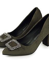 preiswerte -Damen Schuhe PU Frühling Sommer Komfort Pumps High Heels Blockabsatz Runde Zehe Für Kleid Party & Festivität Schwarz Grau Grün Burgund