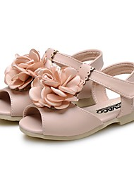 cheap -Girls' Shoes Leatherette Summer Comfort Flower Girl Shoes First Walkers Sandals Flower For Wedding Dress Light Blue Blushing Pink Beige