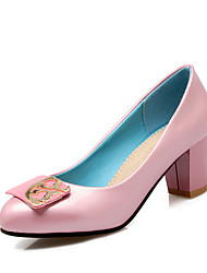 cheap -Women's Shoes Patent Leather Spring Fall Comfort Heels Chunky Heel Round Toe For Outdoor Office & Career Blushing Pink Blue Black White