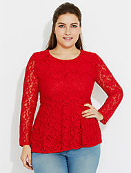Women's Lace Plus Size Going out Sexy Spring /Fall Fashion Slim Thin Blouse Solid Lace Pink /Red /White /Black /Green Polyester /Nylon