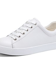 cheap -Women's Shoes Cowhide Summer Comfort Sneakers Flat Heel Round Toe Lace-up White / Black