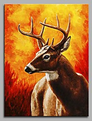 cheap -Elk and Autumn Wall Decor Hand Painted Contemporary Oil Paintings Modern Artwork Wall Art