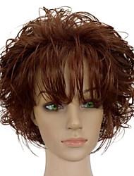 Donna Parrucche sintetiche Senza tappo Pantaloncini Riccio Marrone Parrucca riccia stile afro Con frangia Parrucca naturale costumi