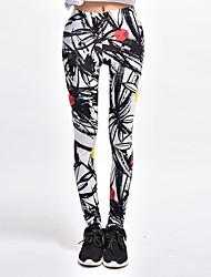 cheap -Women's Print Legging - Solid Color, Print Mid Waist