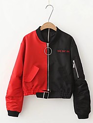 Women's Going out Casual/Daily Simple Spring Fall Jacket,Color Block Stand Long Sleeve Regular Others