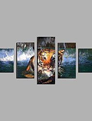 cheap -Rolled Canvas Prints Abstract, Five Panels Canvas Horizontal Print Wall Decor Home Decoration