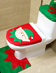 cheap -3pc/set Christmas Elves Toilet Seat Cover Toilet Sets Christmas Decorations Bath Mat Holder Closestool Lid Toilet CoverNavidad