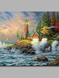 cheap -Lighthouse 100% Hand Painted Contemporary Oil Paintings Modern Artwork Wall Art for Room Decoration