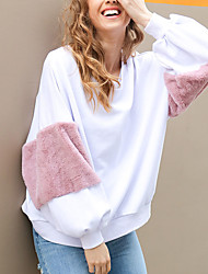 Women's Sports Outdoor Going out Simple Street chic Sweatshirt Color Block Round Neck Micro-elastic Rabbit Fur Polyester Long Sleeve
