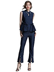 cheap -Women's Daily Going out Casual Street chic Summer Fall Tank Top Pant Suits,Solid Shirt Collar Sleeveless Denim Cotton Inelastic