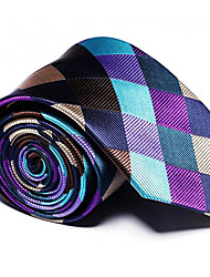 cheap -Men's Polyester Neck Tie,Vintage Party Work Casual Striped All Seasons White Black Purple