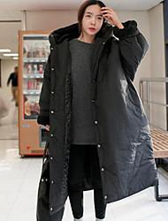 Damen Gefüttert Mantel Einfach Lässig/Alltäglich Solide-Andere Weiße Gänsedaunen Langarm