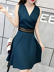 Women's Sports Going out Casual/Daily Sexy Simple Skater Dress,Solid V Neck Above Knee Sleeveless Others Summer High Rise Micro-elastic