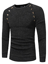 Men's Sports Plus Size Vintage Regular Pullover,Solid Round Neck Long Sleeves Rabbit Fur Cotton Winter Fall Medium Stretchy