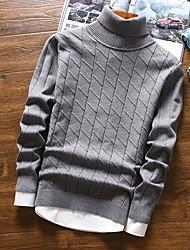 Standard Pullover Da uomo-Casual Tinta unita A collo alto Manica lunga Cotone Autunno Inverno Medio spessore Media elasticità