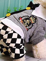 billige -Hund Jumpsuits Hundetøj Plæd / Tern Grå Bomuld Kostume For kæledyr Afslappet/Hverdag