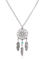 cheap -Women's Bohemian Leaf Dream Catcher Turquoise Turquoise Pendant Necklace Chain Necklace - Vintage Bohemian Fashion Leaf Dream Catcher