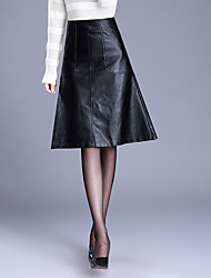 Women's Casual/Daily Knee-length Skirts,Simple A Line Solid Fall Winter