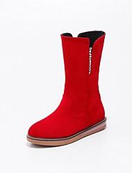 baratos -Mulheres Sapatos Pele Nobuck Primavera / Outono Solados com Luzes / Botas de Neve / Conforto Botas Sem Salto Ponta Redonda Botas Cano