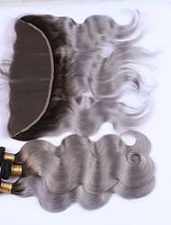 cheap -Brazilian Hair Body Wave Hair Weft with Closure Human Hair Weaves Black / Grey Human Hair Extensions