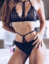 baratos -Mulheres Sexy Conjunto Super Sensual Conjunto Completo Lingerie com Renda Roupa de Noite Sólido