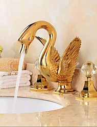 Widespread Widespread Brass Valve Two Handles Three Holes Gold , Bathroom Sink Faucet