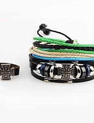 preiswerte -Herrn Leder Kreuz Ring-Armbänder - Modisch Kreuz Braun Armbänder Für Normal Ausgehen