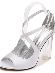 cheap -Women's Shoes Satin Spring / Summer Basic Pump / Ankle Strap / Transparent Shoes Wedding Shoes Chunky Heel / Translucent Heel / Crystal