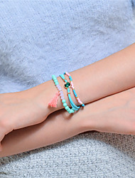 cheap -Women's Chain Bracelet Strand Bracelet Turquoise Crystal Tassel Multi Layer Crystal Turquoise Jewelry Daily Going out Costume Jewelry