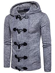 economico -Lungo Pullover Da uomo-Casual Tinta unita Rotonda Manica lunga Cotone Autunno Inverno Medio spessore Media elasticità