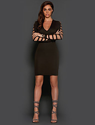 Women's Holiday Club Bodycon Dress,Solid Deep V Above Knee Long Sleeves Polyester Fall Winter High Rise Micro-elastic Thin