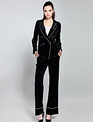 ZIYI Women's Casual/Daily Work Simple Sophisticated Fall Suit,Solid Shirt Collar Long Sleeve Regular Polyester