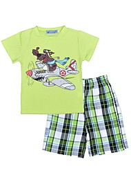 cheap -Boys' Clothing Set, Cotton Summer Short Sleeves Check Light Green