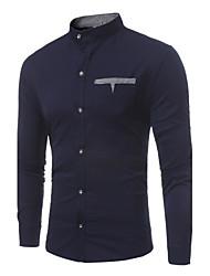 Недорогие -Для мужчин На каждый день Все сезоны Рубашка Воротник-стойка,Простое Контрастных цветов Длинный рукав,Полиэстер,Плотная