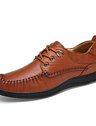 Men's Shoes Real Leather Cowhide Nappa Leather Spring Fall Driving Shoes Formal Shoes Oxfords Lace-up For Casual Office & Career Dark